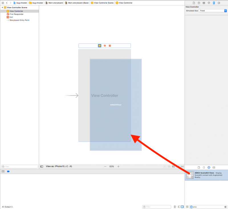 Xcode Standard editor with open Main.storyboard