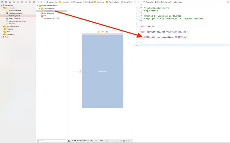 Xcode Assistant editor with open Main.storyboard (left) and ViewController.swift (right)