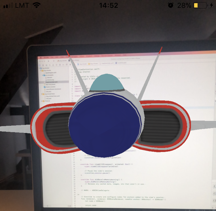 Screenshot from iPhone running Augmented Reality App template project