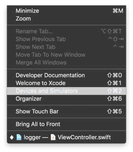 XCode Device and Simulator menu item.