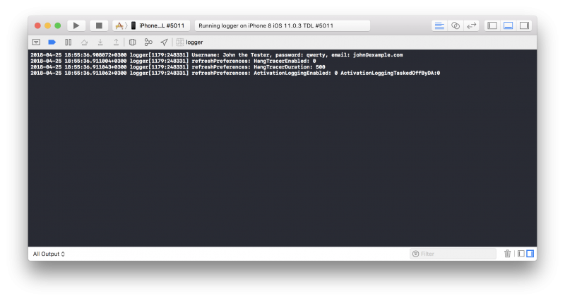 XCode debug console log messages.