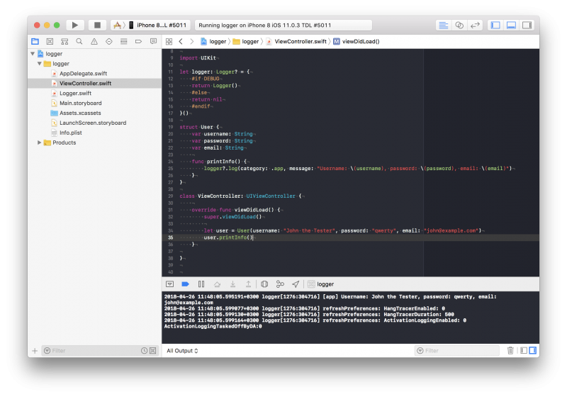 XCode debug console showing Logger in action.
